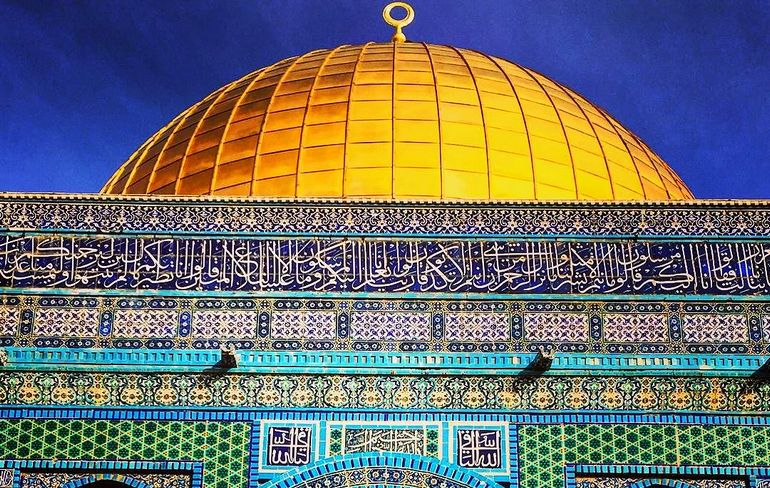 Close up detail of the Dome of the Rock