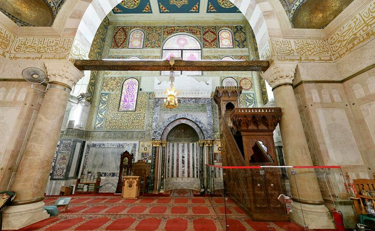 The praying space at the front of the Qibly mosque