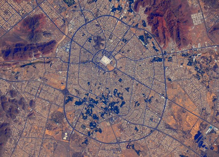 Satellite view of the City of Madinah