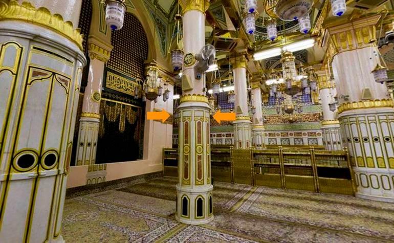 Ustawaanah Tawbah – Photo:Qurancomplex.gov.sa  (Pillars of the Masjid-e-Nabwi Hannanah, Ustuwaanah Jibraee, Wufood)