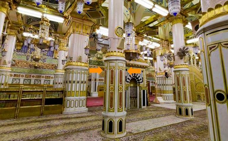 Ustawaanah Aisha – Photo:Qurancomplex.gov.sa  (Pillars of the Masjid-e-Nabwi Hannanah, Ustuwaanah Jibraee, Wufood)