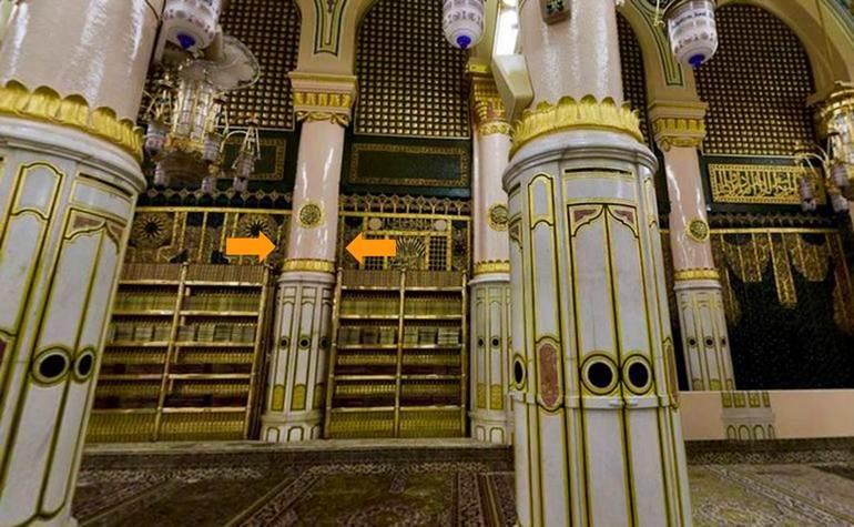 Ustawaanah Wufood – Photo:Qurancomplex.gov.sa  (Pillars of the Masjid-e-Nabwi Hannanah, Ustuwaanah Jibraee, Wufood)