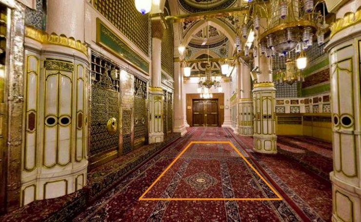 The approximate location of the house of Hafsa (رضي الله عنها) in front of the Rawdah Mubarak