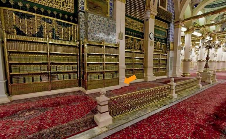 The Mehrab-e-Tahajjud area behind the Rawdah Mubarak – Photo: Qurancomplex.gov.sa
