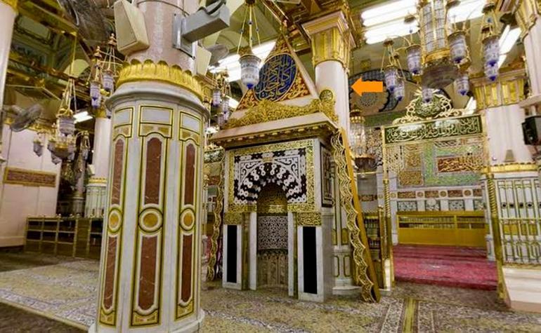 Ustawaanah Hannanah – Photo:Qurancomplex.gov.sa  (Pillars of the Masjid-e-Nabwi Hannanah, Ustuwaanah Jibraee, Wufood)
