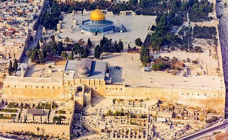 Aerial view of the front of Masjid al-Aqsa