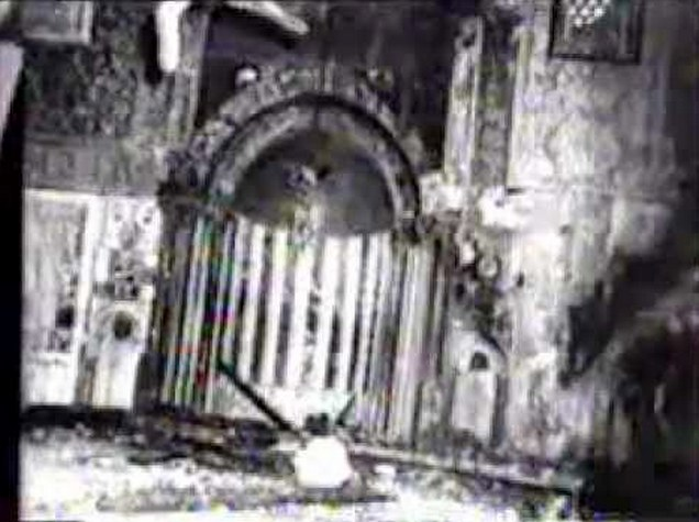 The destruction caused by the fire in Masjid al-Aqsa- Mihrab and Mimbar of Masjid al-Aqsa (Qibly Mosque)