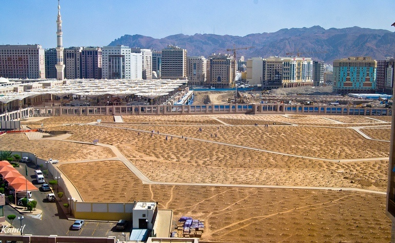 View of Jannatul Baqi with Masjid-e-Nabwi on the left