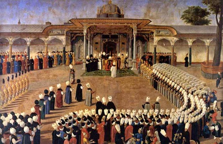 Painting of Sultan Selim III holding audience in front of the Gate of Felicity