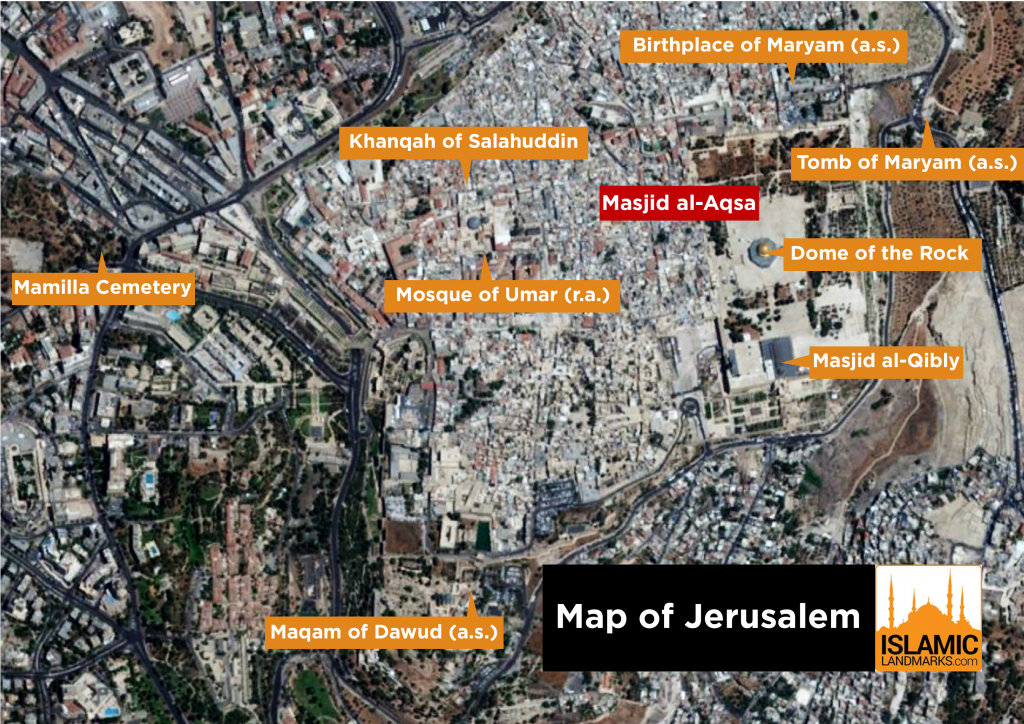Map of Jerusalem with major landmarks