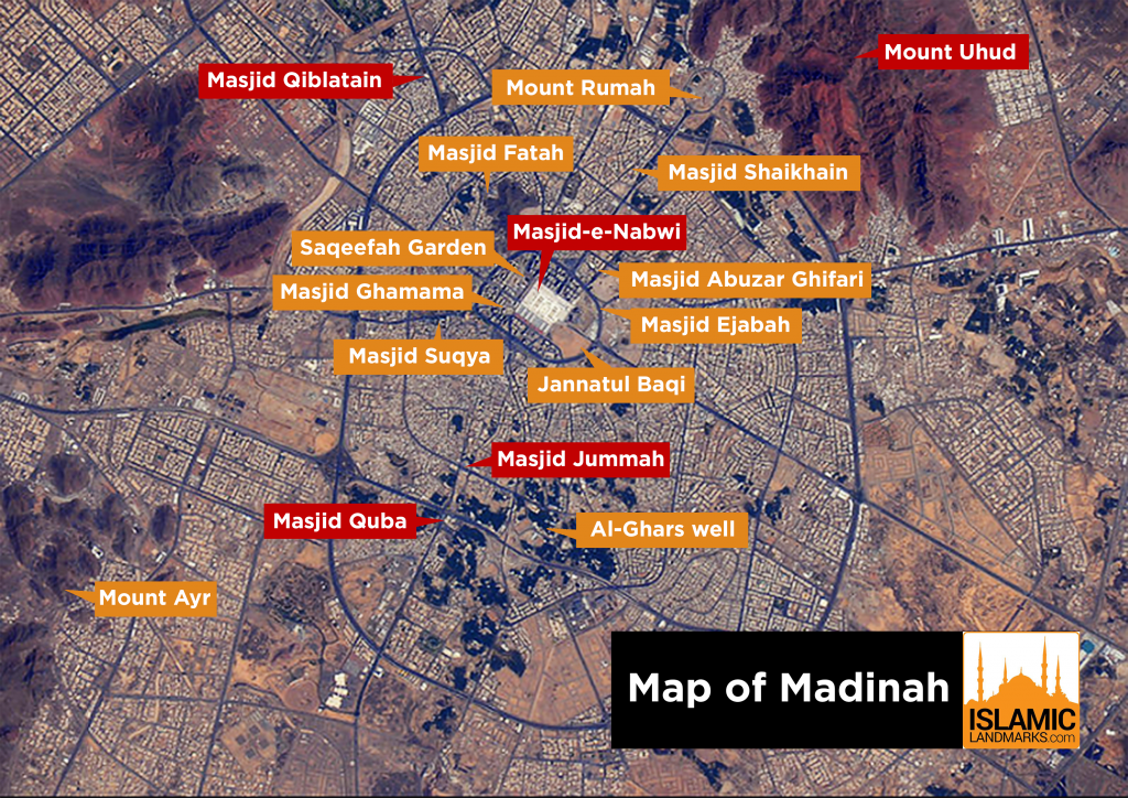 Map of Madinah with major landmarks