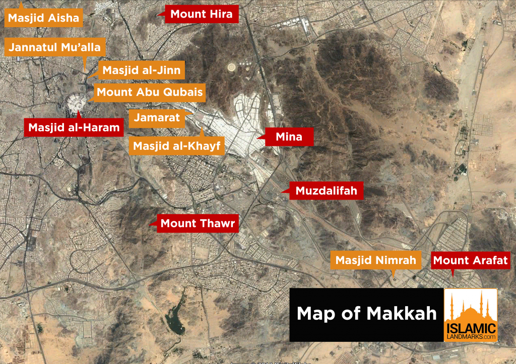 Map of Makkah with the location of major landmarks