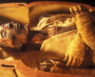 The body of Fir'awn displayed in Cairo Museum