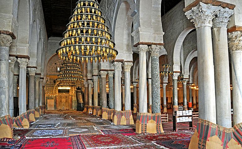 Interior of the Mosque of Kairouan