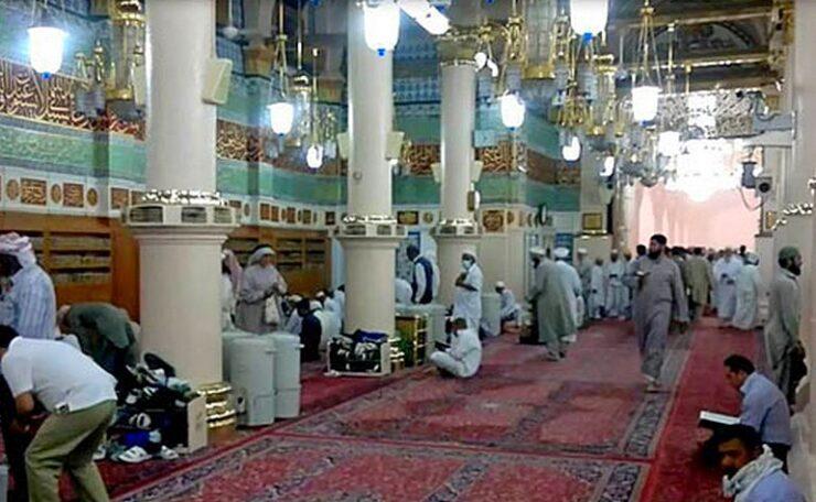 The Qiblah wall in Masjid-e-Nabwi