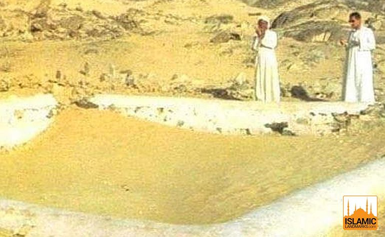 Historic photo of the burial place of the Shuhada of Badr