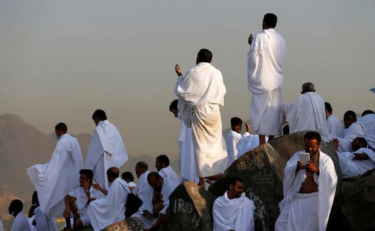 Pilgrims making dua at Mount Arafat