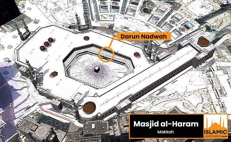 Location of Darun Nadwah in Masjid al-Haram