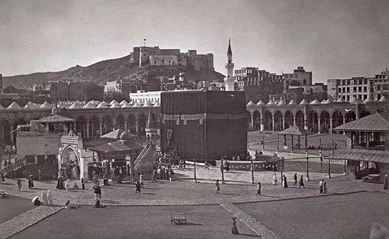 Historic view of the Ajyad Fortress viewed from the Mataf