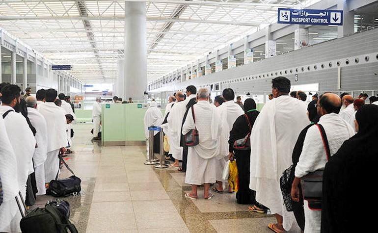 Hujjaj queuing at airport